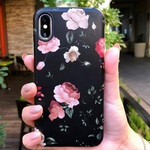 iPhone X Black Floral Case